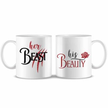 Set 2 tazze caffè Her beast His beauty Piu Forty