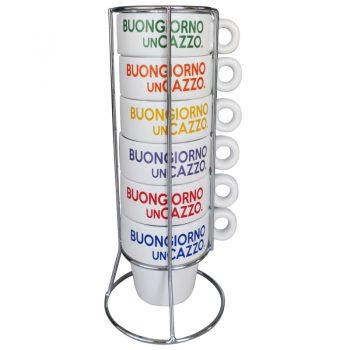 Set 6 tazzine caffè con supporto BUONGIORNO UN CAZZO Più Forty